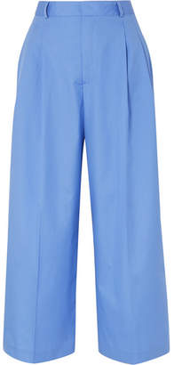 Paul & Joe Noisy Cropped Cotton Wide-leg Pants - Blue