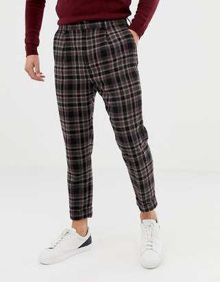 Asos DESIGN tapered pants in wool mix check with turn up