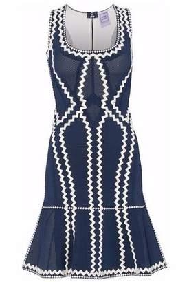 Herve Leger Mesh-Paneled Embroidered Bandage Dress