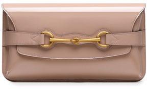 Gucci Bright Bit Patent Leather Clutch, Beige