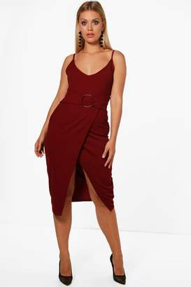 boohoo Plus Debbie Crepe O Ring Wrap Midi Dress