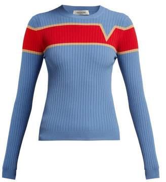 Valentino Logo Intarsia Ribbed Knit Sweater - Womens - Blue Multi