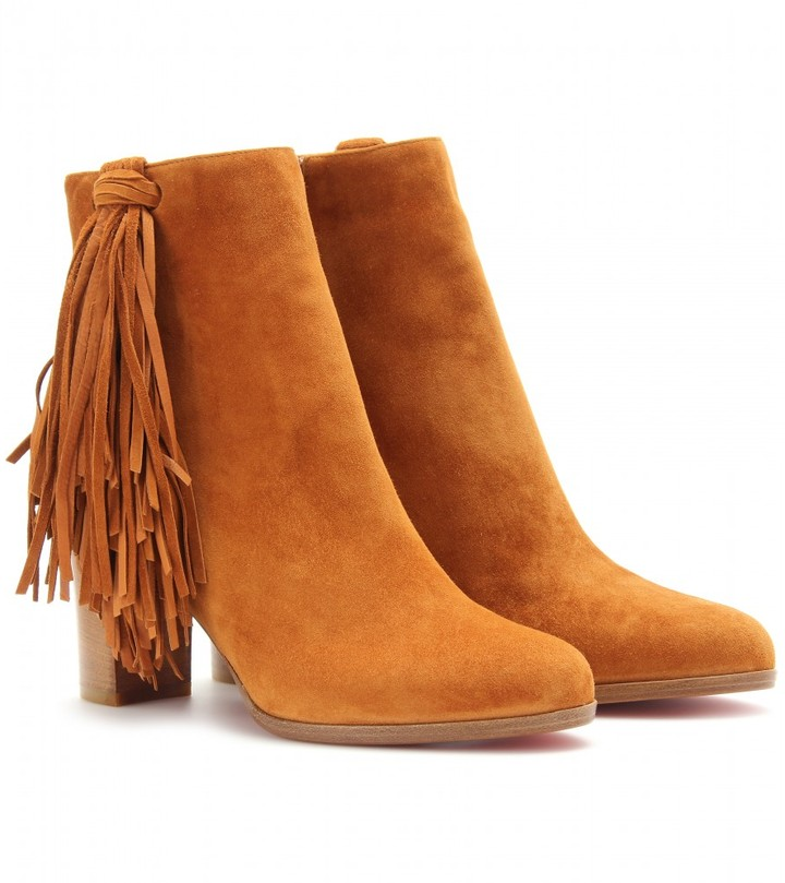 Christian Louboutin JIMMYNETTA 70 LEATHER ANKLE BOOTS WITH FRINGED TRIM
