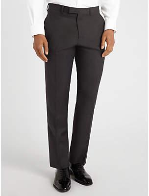 John Lewis Semi Plain Super 100s Wool Travel Suit Trousers, Black