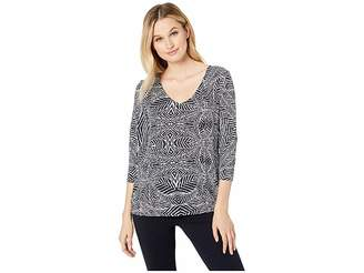 Tribal 3/4 Sleeve V-Neck Printed Jersey Top