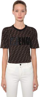 Fendi Logo Embroidered Cotton Jersey T-Shirt