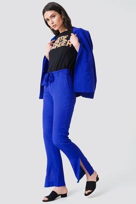 Na Kd Exclusive Straight Tie Waist Jacquard Pants Cobalt