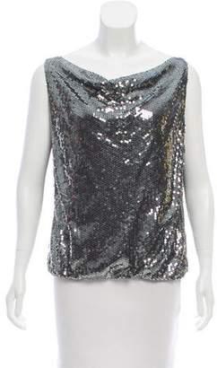 Alice + Olivia Metallic Sequin Embellished Top
