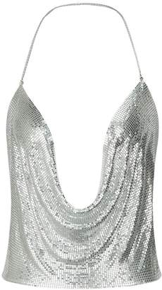 Withchic Backless Clubwear Halter Plunge Chain Mail Crop Cami Top