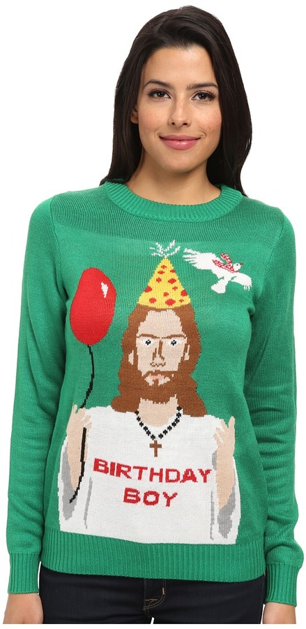 tipsy elves Happy Birthday Jesus Ugly Christmas Sweater