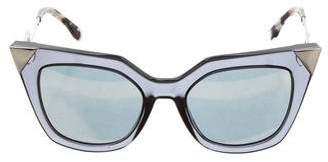 Fendi Mirrored Cat-Eye Sunglasses w/ Tags