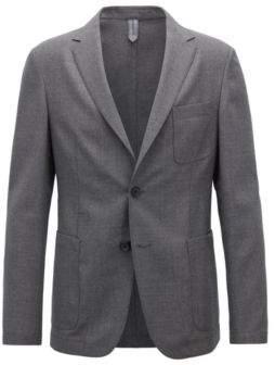 BOSS Hugo Slim-fit blazer in melange virgin wool 42R Open Grey