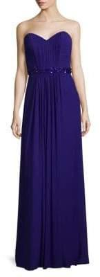 La Femme Elegant Gathered Floor-Length Gown