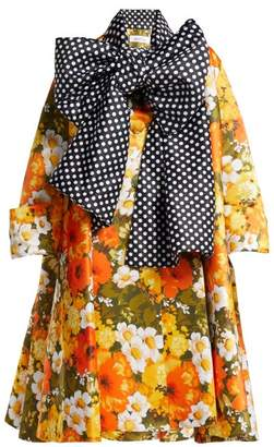 Richard Quinn - Floral Polka Dot Duchess Satin Coat - Womens - Orange Multi