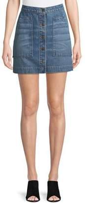 Veronica Beard Getty Button-Front Denim Mini Skirt