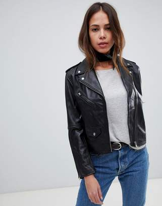 Levi's Levis relaxed leather moto jacket