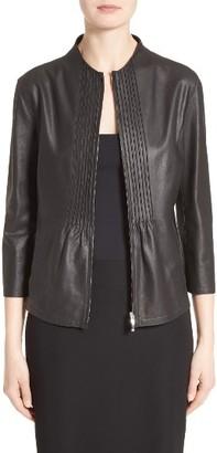 Women's Armani Collezioni Pintuck Leather Jacket $1,895 thestylecure.com