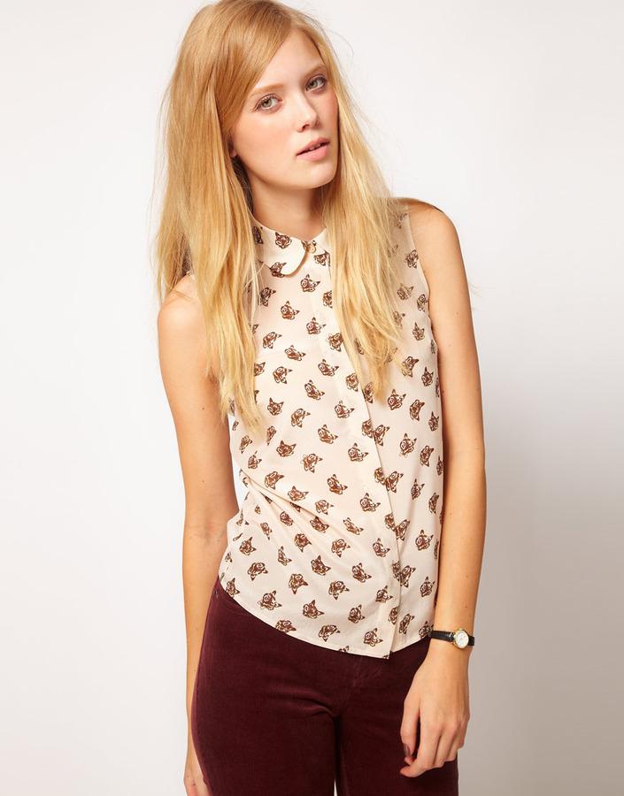 NW3 Mr Fox Print Sleeveless Shirt