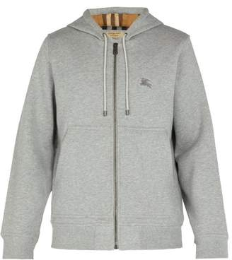 Burberry Logo Embroidered Cotton Blend Hooded Sweatshirt - Mens - Grey
