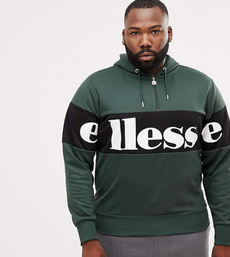 Ellesse Panel Logo Hoodie With 1/4 Zip In Green