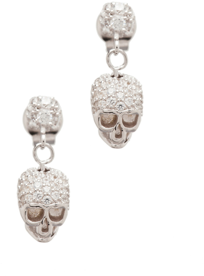 Tom Binns Bejeweled Charm Offensive Plated Skull Earrings