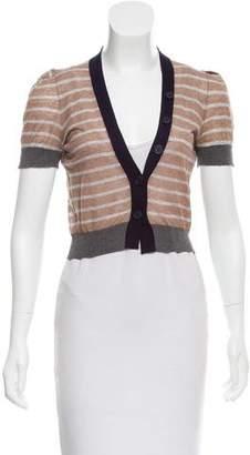 Brunello Cucinelli Striped Short Sleeve Cardigan
