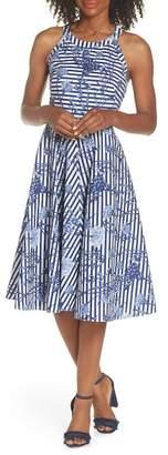 Eliza J Floral Stripe Halter Fit & Flare Poplin Dress (Regular & Petite)