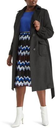 ELOQUII Belted Fit & Flare Coat