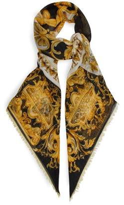 Versace Baroque Pattern Wool Blend Scarf - Womens - Gold