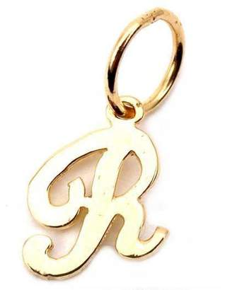 "FindingKing Cursive Letter ""R"" Charm 14k Gold 9.5mm"