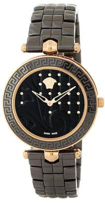 Versace Women's Vanitas Black Quilted Bracelet Watch, 40mm