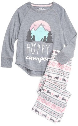 Girl's Pj Salvage Hoppy Camper Two-Piece Pajamas $46 thestylecure.com