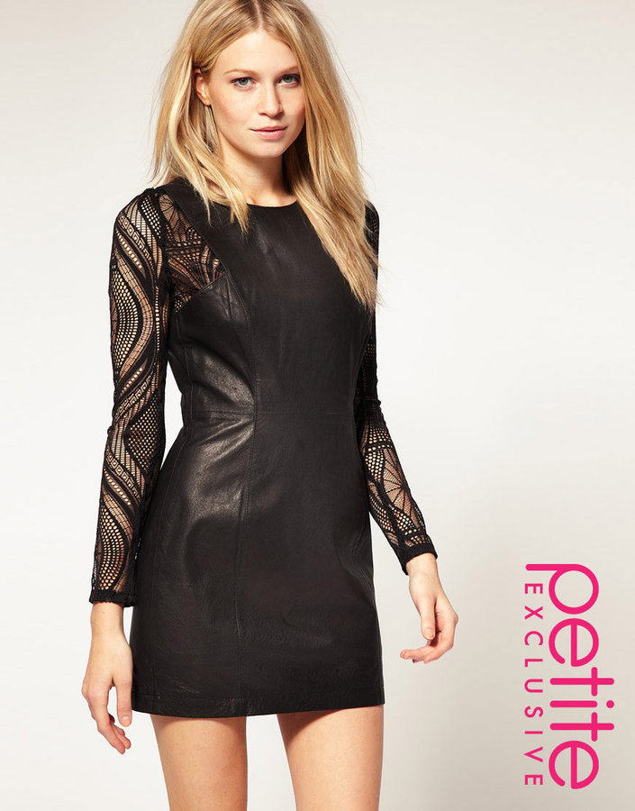 ASOS PETITE Exclusive Leather Dress With Lace Insert Sleeves