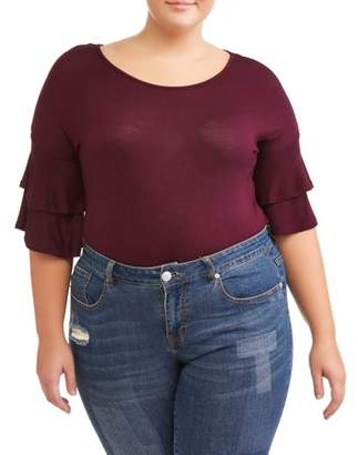 No Comment Junior Plus Size Ruffle Sleeve Tee