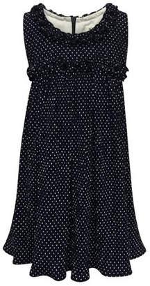 Helena Tiny Dots Empire Ruffle-Trim Dress, Size 7-14