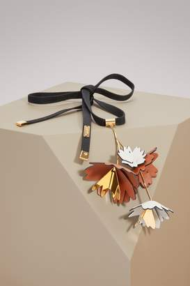 Marni Leather and Brass Necklace