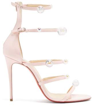 Christian Louboutin Antonana 100 Patent Leather Sandals - Womens - Pink Multi