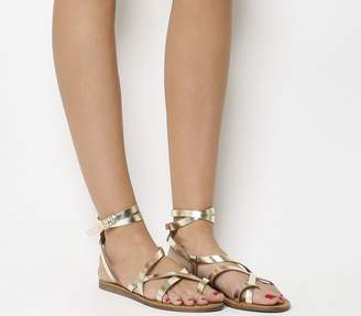 0e17c7270a35 Office Salvador Toe Loop Gladiator Sandals Gold Leather