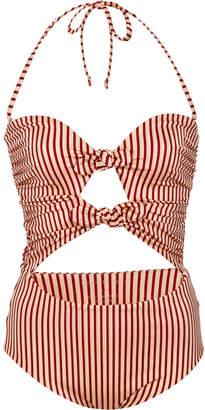 Tori Praver Roux Cut-Out Striped One-Piece Swimsuit