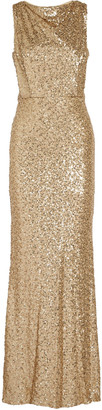 Badgley Mischka Draped sequined tulle gown $650 thestylecure.com