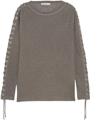 IRO Salim Lace-up Linen-jersey Top