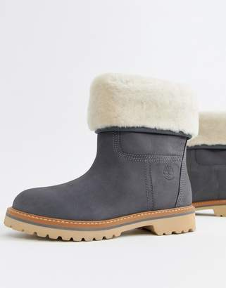 Timberland Charmonix Gargoyle Gray Leather Pull On Ankle Boots With Shearling Fold Down