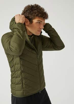 Emporio Armani Ea7 Technical Fabric Down Jacket With Hood