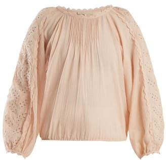 Vanessa Bruno Innocent Broderie Anglaise Cotton Blend Blouse - Womens - Light Pink