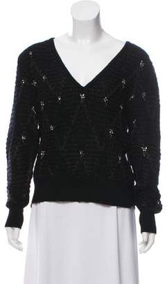 Thakoon Embellished Knit V-Neck Sweater
