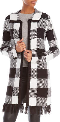 Cable & Gauge Buffalo Plaid Longline Cardigan