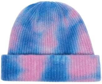 The Elder Statesman blue and pink tie dye cashmere beanie hat