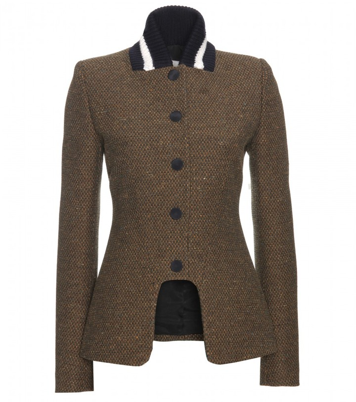 Stella McCartney NATHALIE WOVEN JACKET WITH CONTRAST KNIT STRIPED COLLAR