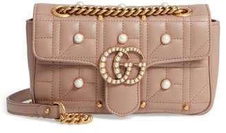 Gucci Mini GG Marmont 2.0 Imitation Pearl Logo Matelasse Leather Shoulder Bag