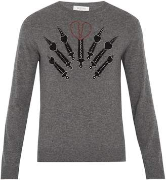 Valentino Love Blade-intarsia cashmere-blend sweater